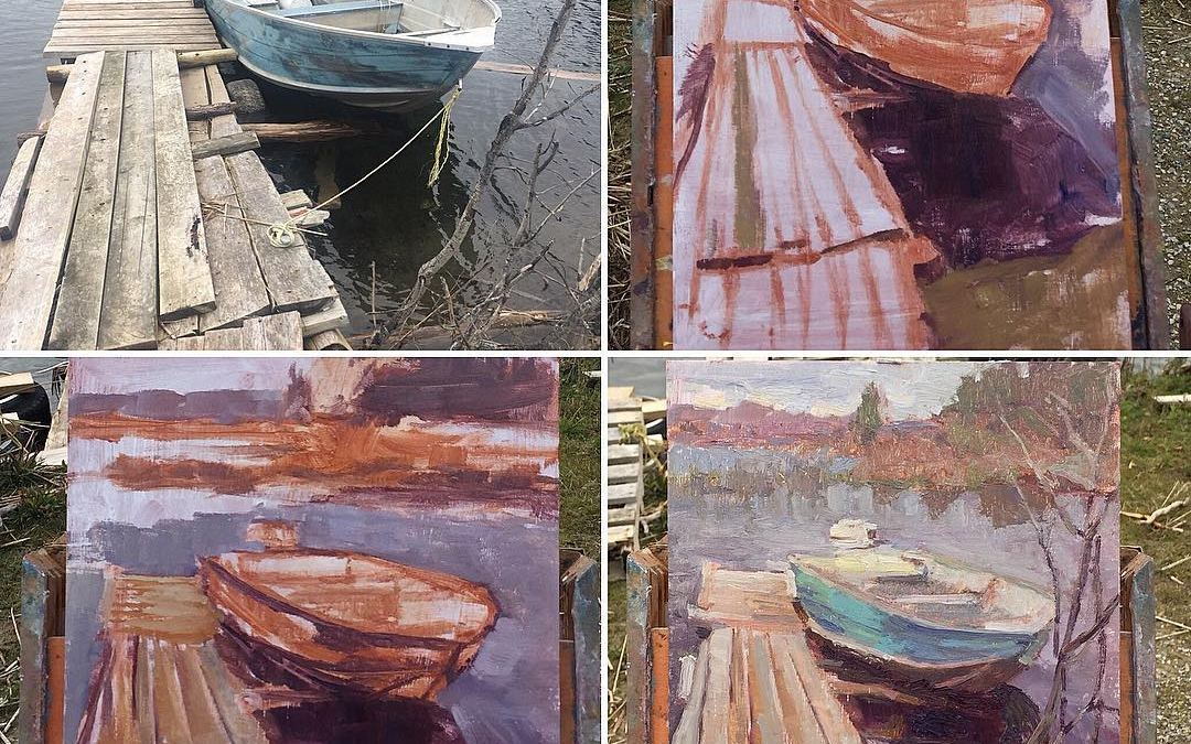 A few stages of my process of plein air painting of 'Boat Launch at Wikwemikong'. Some elements are added, removed, or moved. Colours are often shifted as well to create emphasis of a certain part of the scene or to bring things forward, or push them back. . I just realized I would have liked to get that rope in there. Missed it. Dammit