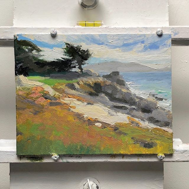 Near Pebble Beach, CA. Working out the problems at a small size. 8 x 10. One correct stroke of correct value, color and edge is faster than several larger strokes. An 8 x 10 at this size only takes about 1-2 hours as opposed to if it were 16 x 20, might take a full day. Possibly 2. I'd rather only invest an hour or two to see if I like it, vs. a day. Happy isolation 'aryone. Hope you're working on some hobbies.